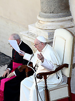 Pope Francis holds a limited public audience at the San Damaso courtyard in The Vatican on September 9, 2020 during the COVID-19 infection, caused by the novel coronavirus.<br /> UPDATE IMAGES PRESS/Isabella Bonotto<br /> <br /> STRICTLY ONLY FOR EDITORIAL USE