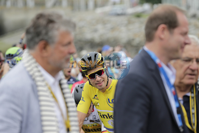 Race leader Yellow Jersey Peter Sagan (SVK) Tinkoff lined up for the start of Stage 3 of the 2016 Tour de France, running 223.5km from Granville to Angers, France . 4th July 2016.<br /> Picture: Eoin Clarke | Newsfile<br /> <br /> <br /> All photos usage must carry mandatory copyright credit (&copy; Newsfile | Eoin Clarke)