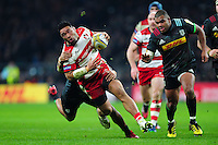Motu Matu'u of Gloucester Rugby takes on the Harlequins defence. Aviva Premiership match, between Harlequins and Gloucester Rugby on December 27, 2016 at Twickenham Stadium in London, England. Photo by: Patrick Khachfe / JMP