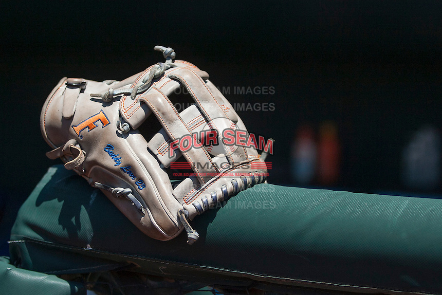 Florida Gators outfielder Buddy Reed's glove at the NCAA College World Series on June 19, 2015 at TD Ameritrade Park in Omaha, Nebraska. The Gators defeated Virginia 10-5. (Andrew Woolley/Four Seam Images)