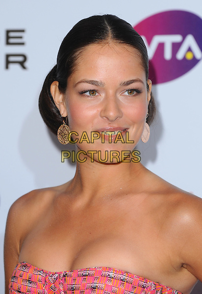 Ana Ivanovic .The WTA Tour Pre-Wimbledon Party, The Roof Gardens, Kensington, London, England..16th June 2011.headshot portrait earrings hair up smiling strapless pink red orange .CAP/BEL.©Tom Belcher/Capital Pictures.