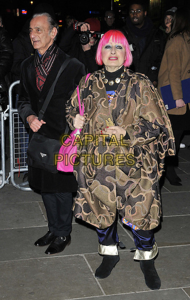 LONDON, ENGLAND - FEBRUARY 03: guest &amp; Zandra Rhodes attend the David Bailey: Bailey's Stardust VIP private view, National Portrait Gallery, St Martin's Place, on Monday February 03, 2014 in London, England, UK.<br /> CAP/CAN<br /> &copy;Can Nguyen/Capital Pictures