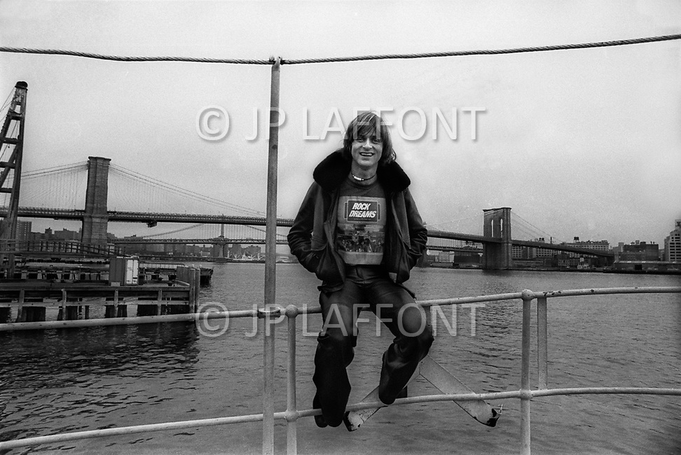 Manhattan, NYC. January 1976. Dutch singer Dave, one of France's biggest pop stars of the '70, during one of his visits to NYC.