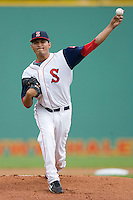 Starting pitcher Fabian Williamson #23 of the Salem Red Sox in action against the Kinston Indians at Lewis-Gale Field May 2, 2010, in Winston-Salem, North Carolina.  Photo by Brian Westerholt / Four Seam Images