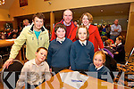 Adam Whelan, Cahal Daly, Ellen Macaty Ava O'Connor with Teachers Joan Cashman, Liam Fell Aiofe O'Dowd from Nagle Rice NS Milltown  at the Chapter 23 Credit Union Schools Quiz finals at Ballyroe Heights Hotel on Sunday