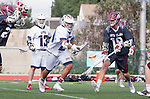 Manhattan Beach, CA 02-11-17 - Del Smith (Loyola Marymount #21) and Jack Margolis (Santa Clara #19) in action during the MCLA non-conference game between LMU (SLC) and Santa Clara (WCLL).  Santa Clara defeated LMU 18-3.