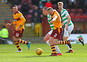 18th March 2018, Fir Park, Motherwell, Scotland; Scottish Premiership football, Motherwell versus Celtic;  Scott Brown battles for the ball with Allan Campbell