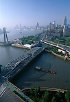 The Shanghai skyline along the Bund, morning, haze, overview, Shanghai, China