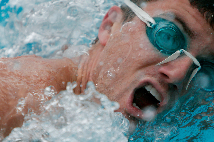 Jack Futoran practices a the 100 yard freestyle during a freeswim in the Ventura Aquatic Center at Ventura College in Ventura, Calif., on Wednesday, April 26, 2006.  (Photo by Bryce Yukio Adolphson/Brooks Institute of Photography, &copy; 2006)<br />