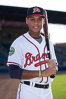 Danville Braves shortstop Derian Cruz (4) poses for a photo prior to the game against the Pulaski Yankees at American Legion Post 325 Field on August 1, 2016 in Danville, Virginia.  The Yankees defeated the Braves 4-1.  (Brian Westerholt/Four Seam Images)