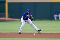 AZL Cubs shortstop Delvin Zinn (21) warms up between innings of a game against the AZL Giants on July 17, 2017 at Sloan Park in Mesa, Arizona. AZL Giants defeated the AZL Cubs 12-7. (Zachary Lucy/Four Seam Images)