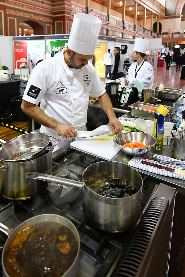 Melbourne, 30 May 2017 - Daniel Soto of the Montague Hotel in South Melbourne prepares vegetables at the Australian selection trials of the Bocuse d'Or culinary competition held during the Food Service Australia show at the Royal Exhibition Building in Melbourne, Australia. Photo Sydney Low