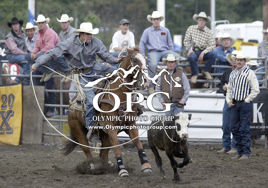 Josh Peek from Pueblo, Colorado could not score in the Tie Down competition at the Kitsap County stampede in Bremerton, Washington.