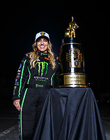 Nov 12, 2017; Pomona, CA, USA; NHRA top fuel driver Brittany Force poses for a portrait as she celebrates after winning the 2017 top fuel world championship and the Auto Club Finals at Auto Club Raceway at Pomona. Mandatory Credit: Mark J. Rebilas-USA TODAY Sports