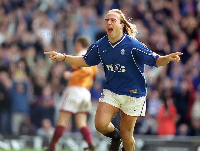 Seb Rozenthal scores against Motherwell at Ibrox in 1999