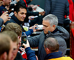 Manchester United manager Jose Mourinho signs autographs during the UEFA Europa League Quarter Final 2nd Leg match at Old Trafford, Manchester. Picture date: April 20th, 2017. Pic credit should read: Matt McNulty/Sportimage