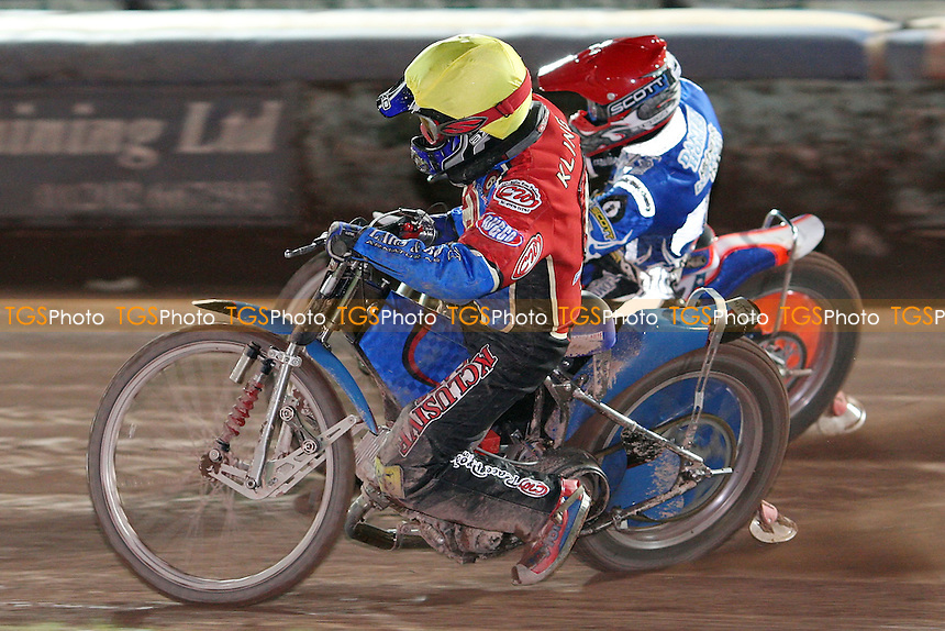 Heat 12 : Ricky Kling (Yellow) and Dave Watt (Red) - Poole Pirates vs Lakeside Hammers at Poole Stadium, Poole - 12/03/08 - MANDATORY CREDIT: Rob Newell/TGSPHOTO