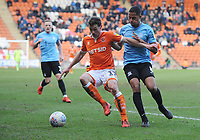 Blackpool's Matthew Virtue under pressure from Southend United's Timothee Dieng<br /> <br /> Photographer Kevin Barnes/CameraSport<br /> <br /> The EFL Sky Bet League One - Blackpool v Southend United - Saturday 9th March 2019 - Bloomfield Road - Blackpool<br /> <br /> World Copyright © 2019 CameraSport. All rights reserved. 43 Linden Ave. Countesthorpe. Leicester. England. LE8 5PG - Tel: +44 (0) 116 277 4147 - admin@camerasport.com - www.camerasport.com