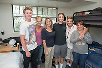 From left, Gus Patrick '21, his mother Kelly Patrick, Meredith Levine, Justin Hirschberg '21 and his parents Jeff and Julie.  Incoming first-years and their families are welcomed by O-Team members and the community at the start of Occidental College's Fall Orientation for the class of 2021, Aug. 24, 2017.<br /> (Photo by Marc Campos, Occidental College Photographer)