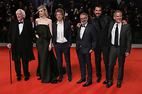 "VENICE, ITALY - SEPTEMBER 07: Donald Sutherland, Elizabeth Debicki, Mick Jagger, Giuseppe Capotondi, Claes Bang  and guest walk the red carpet ahead of the ""The Burnt Orange Heresy"" during the 76th Venice Film Festival at Sala Grande on September 07, 2019 in Venice, Italy. (Photo by Mark Cape/Insidefoto)<br /> Venezia 07/09/2019"