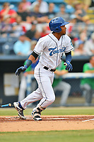 Asheville Tourists Daniel Montano (24) runs to first base during a game against the Lexington Legends at McCormick Field on July 3, 2019 in Asheville, North Carolina. The Tourists defeated the Legends 10-6. (Tony Farlow/Four Seam Images)
