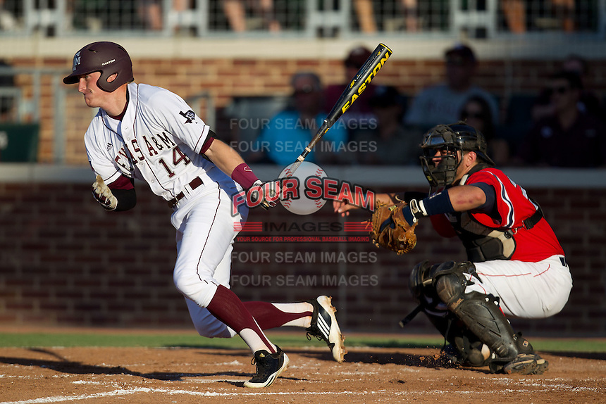 Texas A&M Aggie second baseman Scott Arthur #14 runs to first base during the NCAA Tournament Regional baseball game against the Dayton Flyers on June 1, 2012 at Blue Bell Park in College Station, Texas. The Aggies defeated the Flyers 4-1. (Andrew Woolley/Four Seam Images).