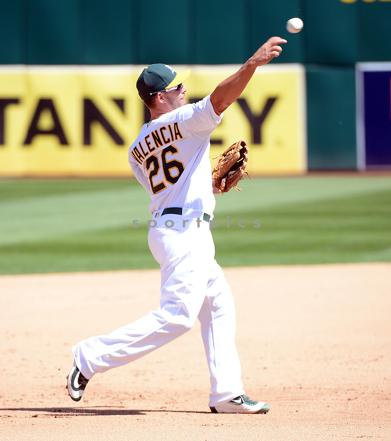 Oakland A's Danny Valencia (26) during a game against the Kansas CIty Royals on April 17, 2016 at Oakland Coliseum in Oakland, CA. The A's beat the Royals 3-2.