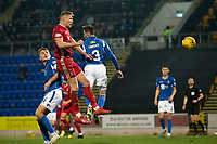24th November 2019; McDairmid Park, Perth, Perth and Kinross, Scotland; Scottish Premiership Football, St Johnstone versus Aberdeen; Sam Cosgrove of Aberdeen comes close with a header just wide - Editorial Use