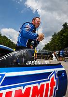 Jun 17, 2017; Bristol, TN, USA; NHRA pro stock driver Jason Line during qualifying for the Thunder Valley Nationals at Bristol Dragway. Mandatory Credit: Mark J. Rebilas-USA TODAY Sports
