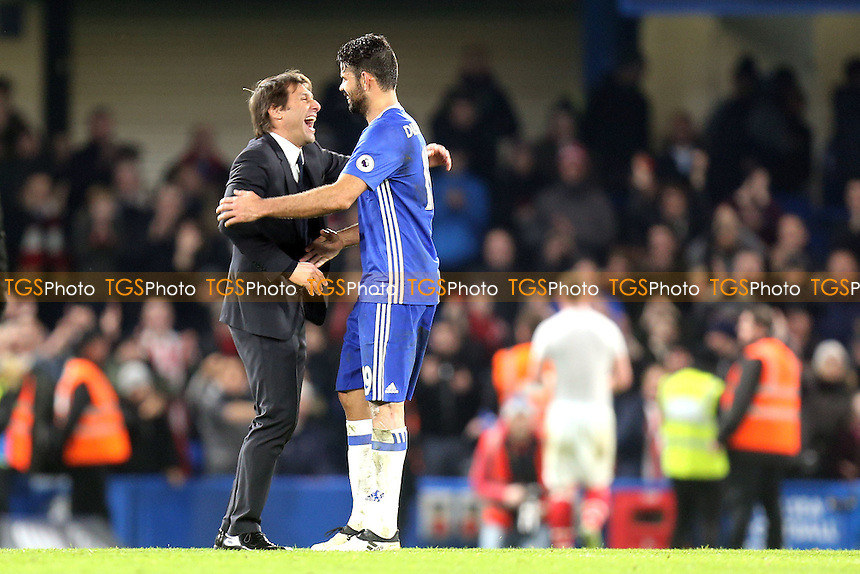 Chelsea manager Antonio Conte and Diego Costa of Chelsea after Chelsea vs Stoke City, Premier League Football at Stamford Bridge on 31st December 2016