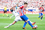 Atletico de Madrid's player Kevin Gameiro and Deportivo de la Coruña's player Fernando Navarro during a match of La Liga Santander at Vicente Calderon Stadium in Madrid. September 25, Spain. 2016. (ALTERPHOTOS/BorjaB.Hojas)