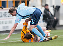 Forfar's Iain Campbell and Alloa's Calum Elliot clash.