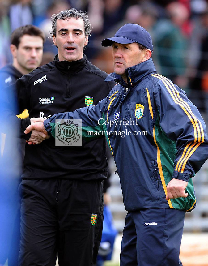 11-03-12: Donegal Manager Jim McGuinness and Kerry Manager Jack O'Connor shake hands after the  national football league division one match at Fitzgerald Stadium, Killarney on Sunday.  Picture: Eamonn Keogh (MacMonagle, Killarney)