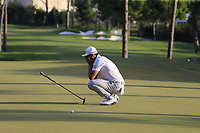Haotong Li (CHN) misses his putt to win on the 18th green at the end of Sunday's Final Round of the 2018 Turkish Airlines Open hosted by Regnum Carya Golf &amp; Spa Resort, Antalya, Turkey. 4th November 2018.<br /> Picture: Eoin Clarke | Golffile<br /> <br /> <br /> All photos usage must carry mandatory copyright credit (&copy; Golffile | Eoin Clarke)