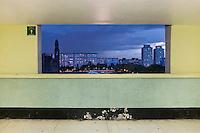 Terraza 6º. Piso Módulo C-D. The interior livingroom windows of apartments in the Chihuahua building of Tlatelolco. Mario Pani´s Tlatelolco, plaza de las 3 culturas, Mexico DF