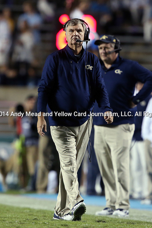 18 October 2014: Georgia Tech head coach Paul Johnson. The University of North Carolina Tar Heels hosted the Georgia Tech Yellow Jackets at Kenan Memorial Stadium in Chapel Hill, North Carolina in a 2014 NCAA Division I College Football game. UNC won the game 48-43.