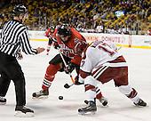 Dennis McCauley (NU - 12), Tyler Magura (Harvard - 17) - The Northeastern University Huskies defeated the Harvard University Crimson 3-1 in the Beanpot consolation game on Monday, February 12, 2007, at TD Banknorth Garden in Boston, Massachusetts.