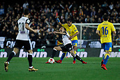 9th January 2018, Mestalla Stadium, Valencia, Spain; Copa del Rey football, round of 16, second leg, Valencia versus Las Palmas; Striker Simone Zaza for Valencia Cf challenges for a ball against Remos for Las Palmas