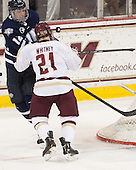 Justin Agosta (UNH - 12), Steven Whitney (BC - 21) - The Boston College Eagles and University of New Hampshire Wildcats tied 4-4 on Sunday, February 17, 2013, at Kelley Rink in Conte Forum in Chestnut Hill, Massachusetts.
