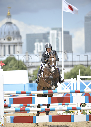 06.07.2011 London  England. Takayuki Yumira [JPN] and Hooligan in action during the show jumping phase of Greenwich Park Eventing Invitational CIC**.  Part of the London Prepares Series of events organised by LOCOG, London Organising Committee Olympic Games.