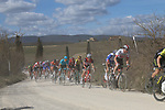 The peloton on sector 2 Bagnaia during Strade Bianche 2019 running 184km from Siena to Siena, held over the white gravel roads of Tuscany, Italy. 9th March 2019.<br /> Picture: Seamus Yore | Cyclefile<br /> <br /> <br /> All photos usage must carry mandatory copyright credit (© Cyclefile | Seamus Yore)
