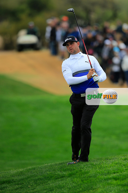 Gary Woodland (USA) on the 3rd during the final round of the Waste Management Phoenix Open, TPC Scottsdale, Scottsdale, Arisona, USA. 03/02/2019.<br /> Picture Fran Caffrey / Golffile.ie<br /> <br /> All photo usage must carry mandatory copyright credit (&copy; Golffile | Fran Caffrey)