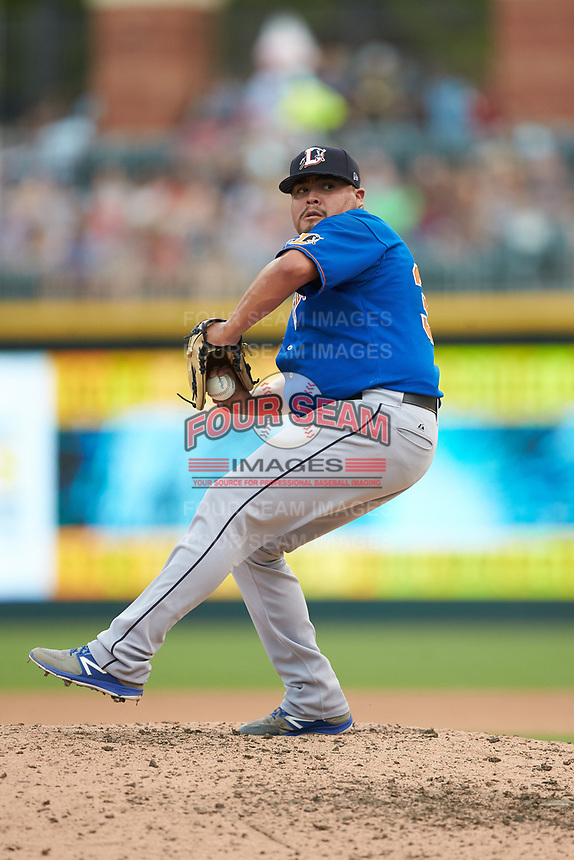 Durham Bulls relief pitcher Mike Franco (34) in action against the Charlotte Knights at BB&T BallPark on July 4, 2018 in Charlotte, North Carolina. The Knights defeated the Bulls 4-2.  (Brian Westerholt/Four Seam Images)