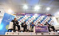 BOGOTA COLOMBIA-10-03-2015: Jahn Fontalvo de Gran Slam Producciones y Director del Torneo; Frank Harb, Vicepresidente Internacional de Sanitas Internacional, Nick Bolletieri, fundador de la Academia Bolletieri, Silvia Zuloaga, Gerente de Contenido de Claro y Juan Carlos Peña, Subdirector de Coldeportes durante la presentación del Claro Open Colsanitas de tenis 2015, que se realizara en las canchas del Club Campestre El Rancho en la ciudad de Bogota del 13 al 19 de abril de 2015. / Jahn Fontalvo, Grand Slam Productions and Tournament Director, Frank Harb  International Vice President of International Sanitas, Nick Bollettieri, founder of the Bollettieri Academy, Silvia Zuloaga, Content Manager Claro and Juan Carlos Peña, Deputy Director of Coldeportes during the presentation of the Claro Open Colsanitas 2015 of Tennis Championships, to be held in the courts of the Club Campestre El Rancho in Bogota city, from 13 to April 19, 2015. (Photo: VizzorImage / Luis Ramirez / Staff.)