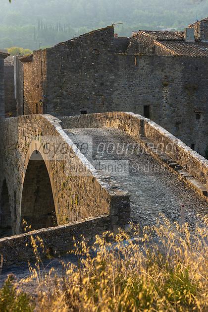 France, Aude (11), Lagrasse, labellisé Les Plus Beaux Villages de France, vieux  pont  sur l'Orbieu //  France, Aude, Lagrasse, labelled Les Plus Beaux Villages de France (The Most Beautiful Villages of France), old  bridge  over the Orbieu river