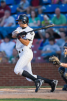 Paulo Orlando (18) of the Winston-Salem Warthogs follows through on his game winning hit in the bottom of the 7th inning versus the Kinston Indians at Ernie Shore Field in Winston-Salem, NC, Saturday, May 17, 2008.  The Warthogs rallied with 2 runs in the bottom of the 7th for a 4-3 win in game one of a double header.