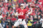 Wisconsin Badgers quarterback Alex Hornibrook (12) throws a pass during an NCAA College Big Ten Conference football game against the Michigan Wolverines Saturday, November 18, 2017, in Madison, Wis. The Badgers won 24-10. (Photo by David Stluka)