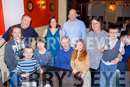 Sean Hickey Cullen seated centre who celebrated his 70th birthday with his family in Lord Kenmares restaurant on Saturday night