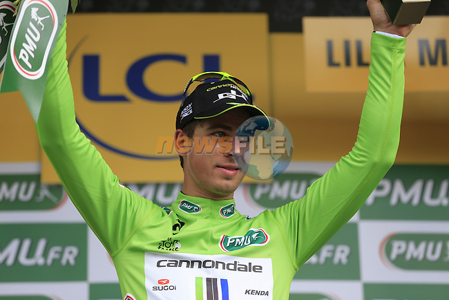 Peter Sagan (SVK) Cannondale retains the sprinter's Green Jersey after Stage 4 of the 2014 Tour de France running 163.5km from Le Touquet to Lille. 8th July 2014.<br /> Picture: Eoin Clarke www.newsfile.ie