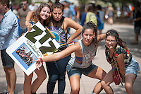 Occidental College Zeta Tau Zeta co-ed fraternity students get involved at the annual Involvement Fair (formerly Club Day) on Tuesday, September 11, 2012 in the Academic Quad. About 120 organizations set up shop with mailing list sign up sheets, fliers for upcoming events and information about ways to get involved with their department or organization. (Photo by Marc Campos, Occidental College Photographer)